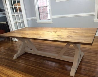 Handcrafted Farmhouse Table X-Trestle Leg