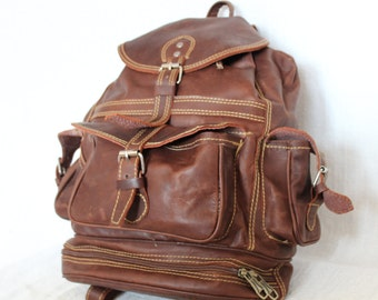 Handmade Bespoke Leather Backpack, Leather Bag Brown