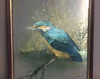 Vintage 1970s Foil Art Print - P Sturgeon 'Kingfisher.'