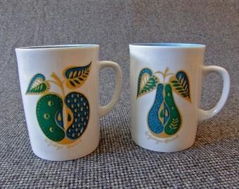 Georges Briard (Jascha Brojdo) Forbidden Fruit Coffee Mugs, Mid-Century Modern Design Ceramic