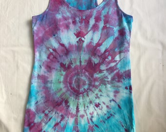 Upcycled tie dyed tank top