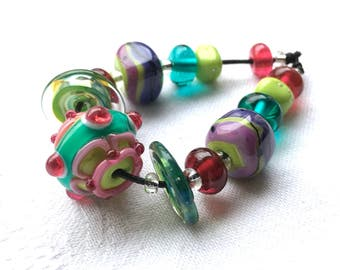 Spring Time Bead Set Handmade Lampwork Glass Beads by Beadfairy