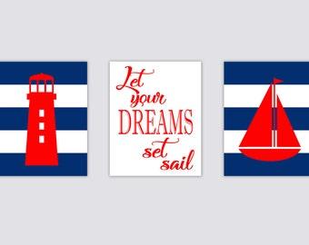 Nautical Lighthouse Boat Nursery Art