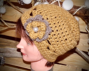 Cap flower Beige woman