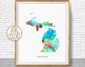 Michigan State Michigan Decor Michigan Print Michigan Map Art Map Artwork Map Print Map Poster Watercolor Map Office Art ArtPrintZone