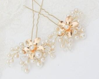 Bridal hair pin Wedding Hair Pins Pearl Hair pin Bridal Hair Piece Gold Hair pins Bridesmaid gift  flower hair pins Pearl hair pins