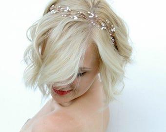 Bridal Halo, Bridal Hair Vine, Hair Vine, Rose Gold, Rose Gold Hair Vine, Hair Wreath, Bridal Headband, Wedding Headband, Bridal Headpiece