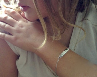 Silver Textured Bar Bracelet