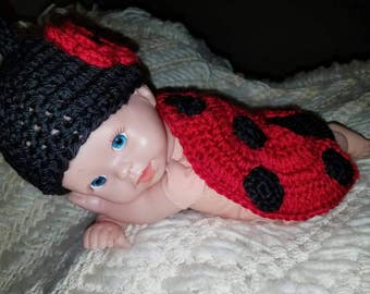 Crochet Ladybug beanie and cover