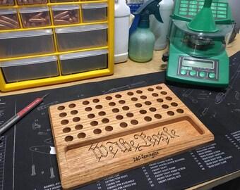 Reloading Block, Loading Block, Reloading Tray, Handload, 50 Round, Gun, Brass, Ammo, Engraved