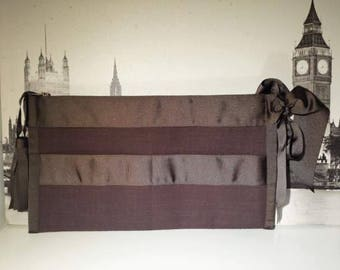 Clutch dark brown with grosgrain Ribbon and tassel