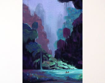 Night Introspection - Illustration print - A4,A5 Réalisé sur commande / Made to order