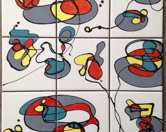 Set of 9 tiles hand-painted abstract ceramic