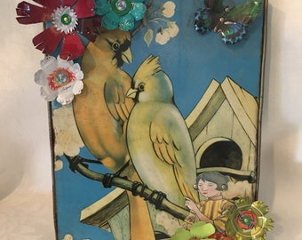Lovebirds Recycled Tin Metal Wall Art