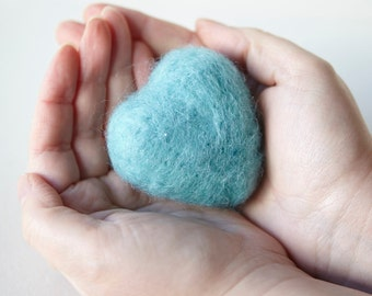 Valentines day. Felted Heart. Teal. 6cm