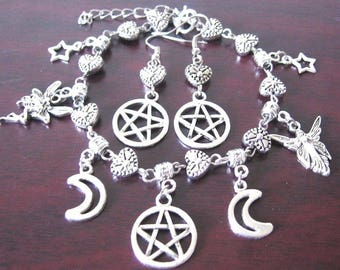 Pentacle Charm Bracelet and Earrings Set