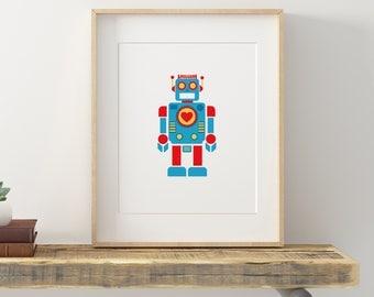 Robot Love, Printable Art, Wall Art, Digital Art, Print, Gift for her, Gift for him, Nursery Art, Love Art, Decor, Retro, 8x 10