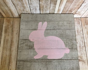 Easter bunny wooden sign