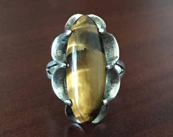 Vintage Sterling Silver & Tigers Eye Ring, Size 9.5 (8 Grams Net Wt)