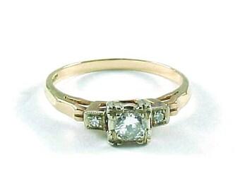 Vintage Diamond 14k Gold Engagement Ring