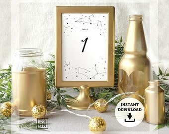 Starry Night (spring/summer constellations) 4x6 PRINTABLE table numbers