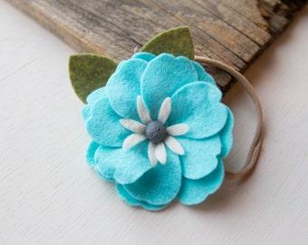 READY TO SHIP // Felt Flower Headband // Blue and white