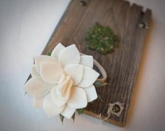 READY TO SHIP///Simply Ivory Felt Flower Headband