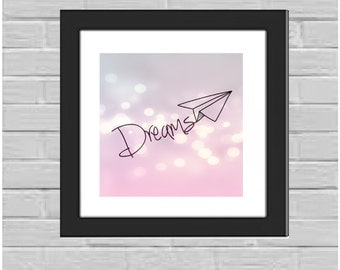 Dreams Paper Airplane framed print