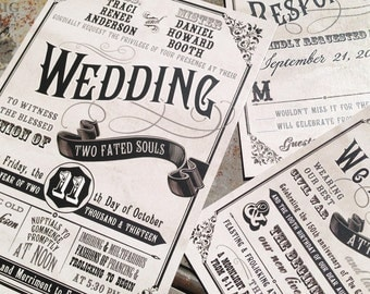Civil Union Wedding Invitation Set. Fun Typography wedding invitations. Classic boardwalk carnival style wedding invitations