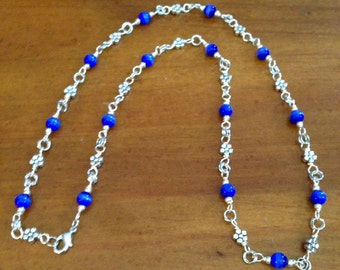Royal blue and Antiqued Silver Plated Necklace and Earrings Set, Blue Jewelry, Silver Jewelry, Unique Jewelry