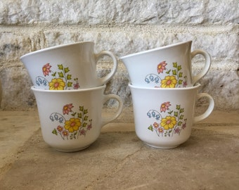 vintage corelle by corning coffee cups - meadow pattern