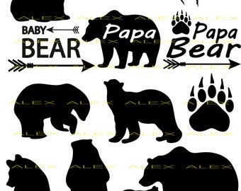 70% OFF, Bear SVG, Bear Silhouette png, eps, svg, dxf, Bear Clipart, Animals Silhouettes, Papa Bear Svg, Baby Bear Svg, Bear Paw Svg