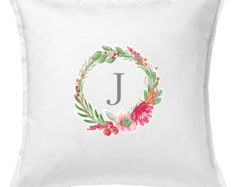 Initial Pillow with Floral Wreath
