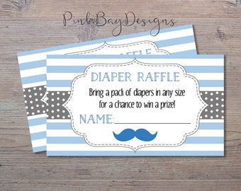 Blue and Grey Diaper Raffle Ticket, Instant Download, Diaper Raffle Ticket, Boy Baby Shower Insert, Baby Shower Diaper Raffle