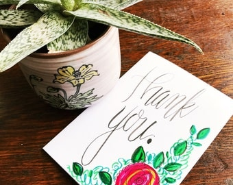 Handmade Floral Thank You Card // Hand Lettered Calligraphy // Drawing // Rose Flower // Gratitude // Thank You