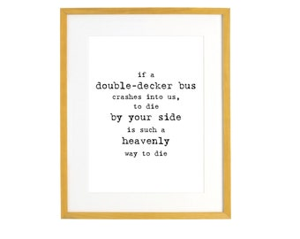 Morrissey Double Decker Bus Quote - Digital Download Print - Vintage Typewriter -  Love There is a Light That Never Goes Out Wedding Art