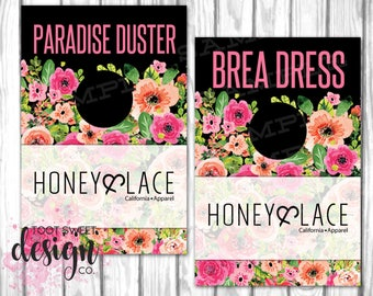 Clothing Rack Hanging Dividers, Honey and Lace Style Name Divider for Clothes Racks, Hanger Tags Separator, Black Floral, INSTANT DOWNLOAD