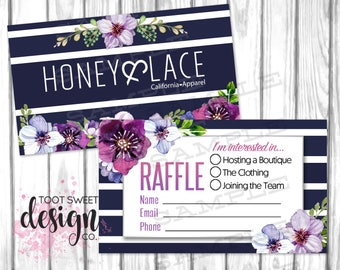 Honey and Lace Raffle Ticket, Honey & Lace Giveaway Business Card, Marketing Branding, Blue Striped Purple Floral Design INSTANT DOWNLOAD