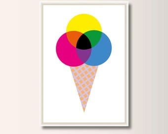 Ice CMYK, geometric printing, minimalist printing, Scandinavian printing, abstract poster, minimal print
