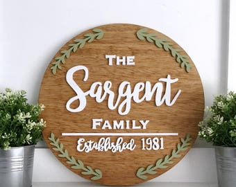 "16"" Round Name Sign - Circle Name Sign - Wood Name Sign - Family Name Sign - Baby Name Sign - Wood Letter Sign - Custom Name Sign - Custom"