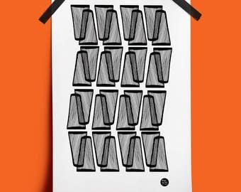 Abstract Black & White Wall Art Print No. 5: ideal housewarming or birthday gift. (A3 Digital Print)