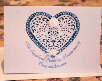 45th Sapphire Wedding Anniversary Sparkling Glitter Congratulatory Card with Hearts Flowers and Lace