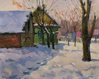 Sale 30% VINTAGE IMPRESSIONIST ART Original Oil Painting by Soviet Ukrainian Russian artist Peschansky 1970s Winter Rural Snow Landscape,