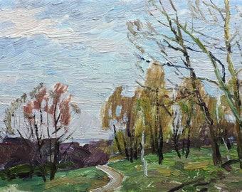 VINTAGE FOREST LANDSCAPE, Original Oil Painting by M.Borymchuk 1970s Woodland scenery, Spring Landscape, Soviet Ukrainian art, One of a kind