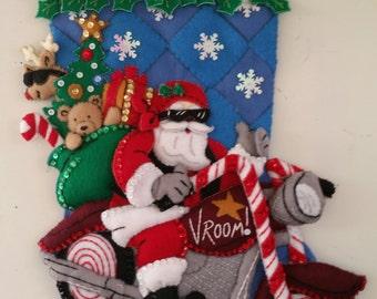 """18 inch Felt Bucilla """"Motorcycle Santa"""" Finished Christmas Stocking"""
