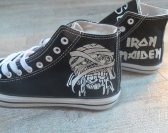Iron Maiden logo on canvas sneaker, sneakers, hand-painted.