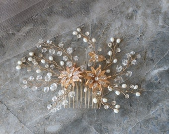 Gold Flower Vintage Pearl Rhinestone Wedding Hair Pin, Bridal Accessories, Wedding Accessories