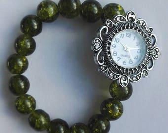 Ladies elasticated beaded watch green beads very pretty
