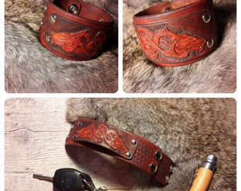 "Viking wolf design cuff/bracelet, 40mm (about 1 9/16"") wide"