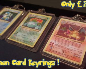 Pokemon Card Keyrings - Charizard Venusaur Blastoise Shadowless 1st edition *Custom made* Personalised Option Available